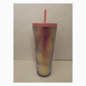 Starbucks Pink Holographic Palm Leaves Tumbler